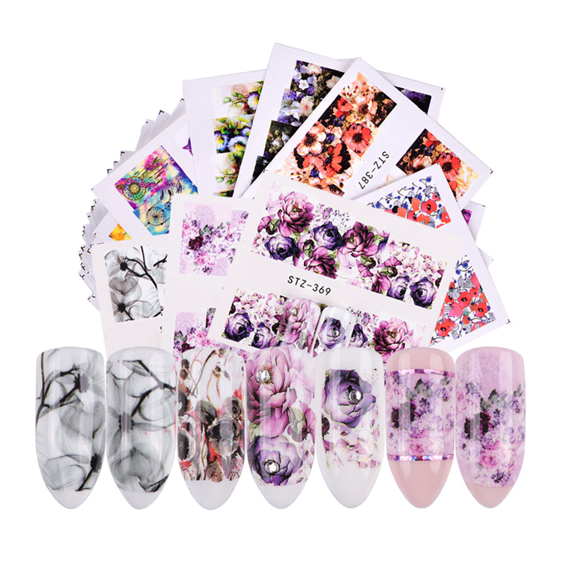 48 PCS Mixed Flower Designs Nail Art Decals - Toyzor.com