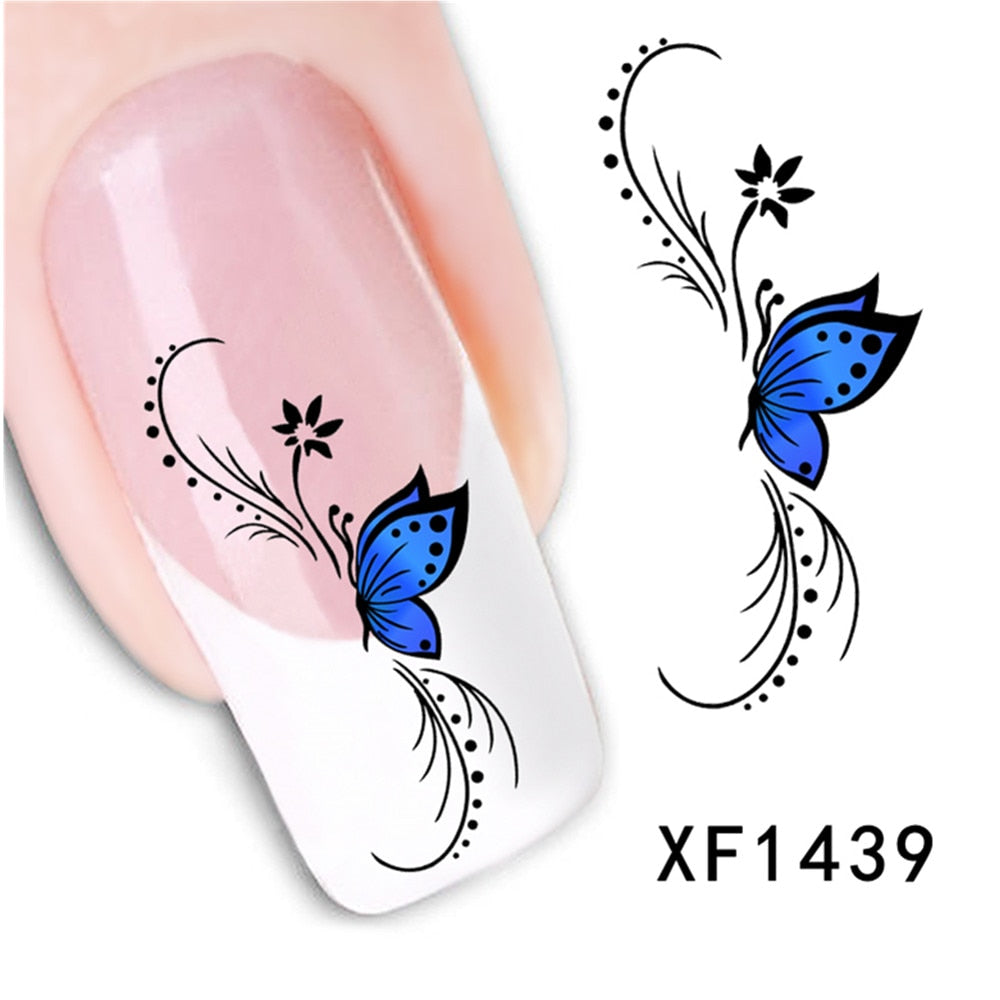 50 PCS Long Flower Vine and Black Lace Nail Art Decals - Toyzor.com