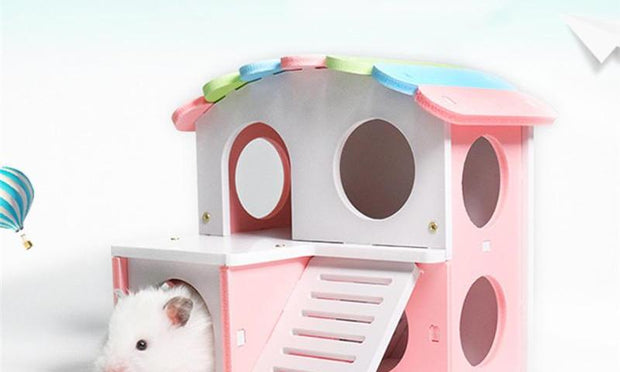 Wooden Hamster Creative House Stair Toy Guinea Pig Mice Playing Sleeping Cage