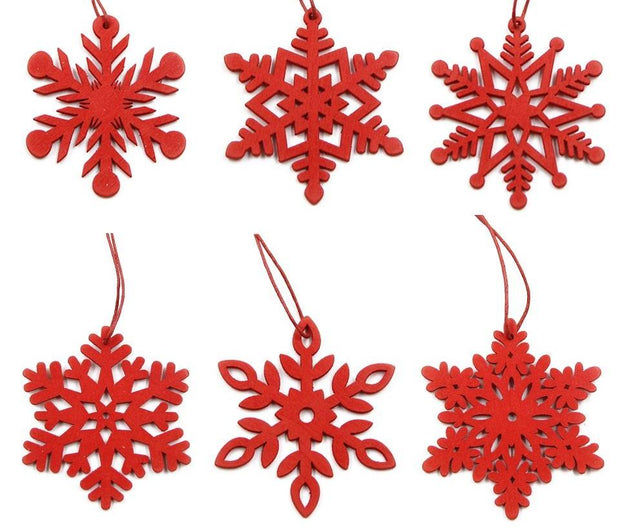 6PCS DIY White&Red Snowflakes Christmas Wooden Pendants Ornaments
