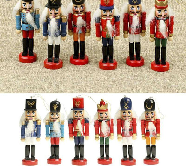 6Pcs/Set Wooden Nutcracker Figurines Christmas Tree Ornaments