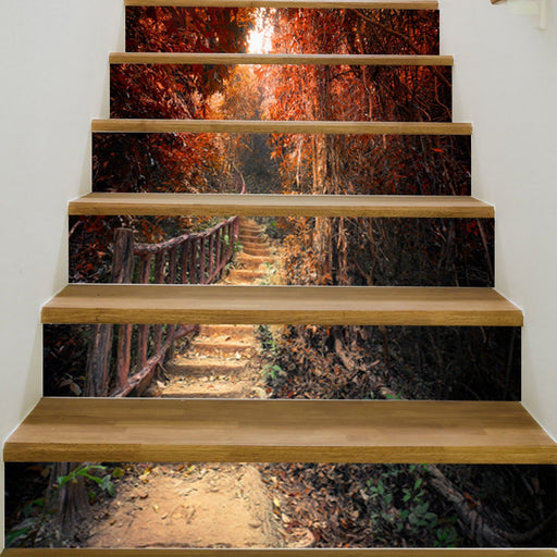 Maple Trail Stairs Decoration Stickers 3D Vinyl DIY Art Decal Self Adhesive Staircase