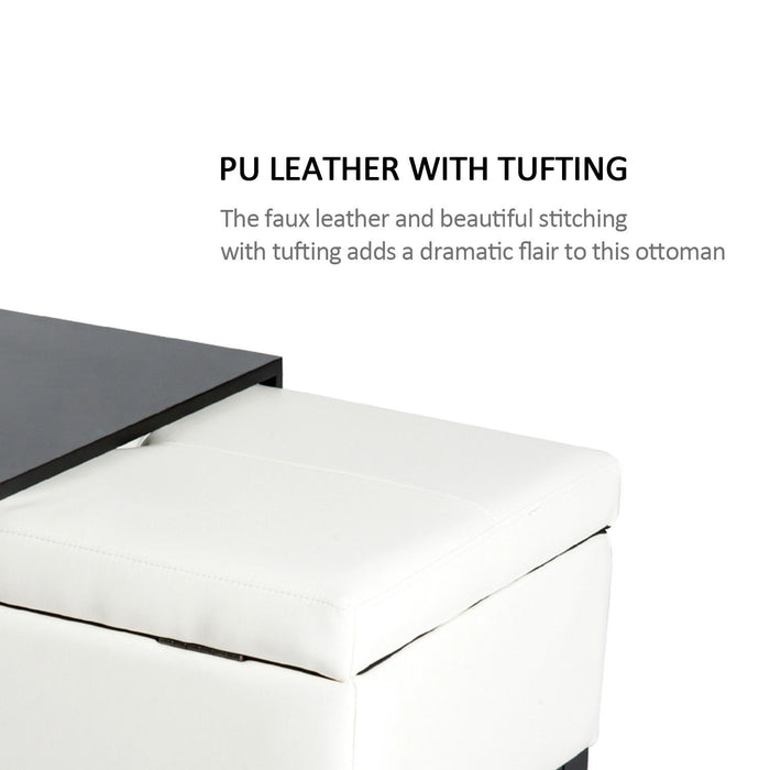PU Leather Rectangular Tufted Storage Bench Ottoman Tray Wood Leg