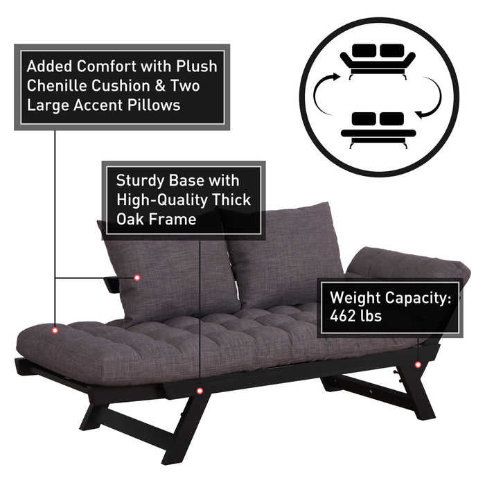 Convertible Sofa Bed Sleeper Couch With Adjustable Padded Pillow