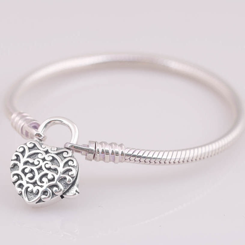 925 Sterling Silver Bracelet Regal Heart Padlock Clasp
