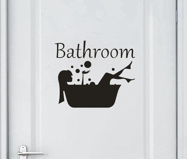 Bathroom Wall Sticker Letter Removable Art Vinyl Mural Home Room Toilet Door