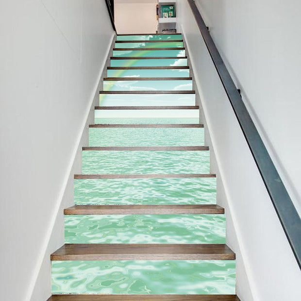 Beautiful Rainbow Sea Home DIY Door Renovation Wallpaper Self Adhesive PVC Stair Stickers Waterproof Staircase