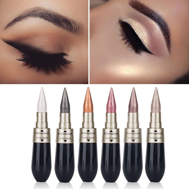 Double-end Waterproof Liquid Eyeshadow Eyeliner Combination