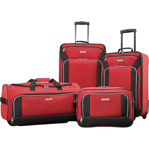 American Tourister 4 Piece Luggage Set, Color - Red/Black