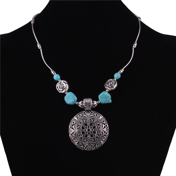Tibetan Silver Color Stone Vintage Necklaces