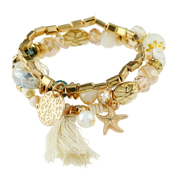 Bohemian Gold  Elastic Multi Layer Bracelets