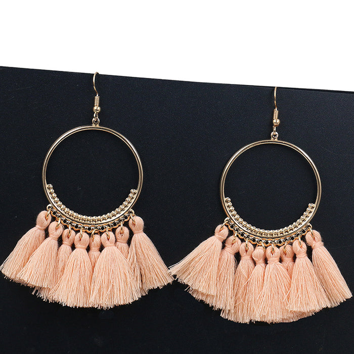 Vintage Bohemian Handmade Statement Tassel Earrings f