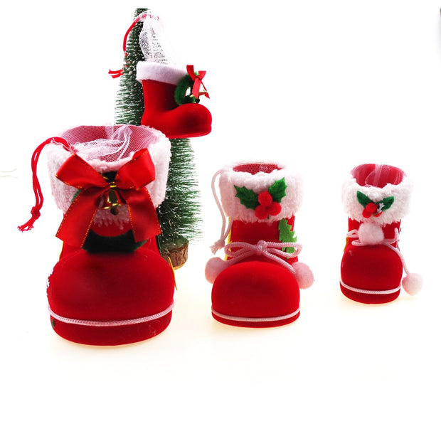 Boots Winter Christmas Santa Flocking Decor Gift Bag