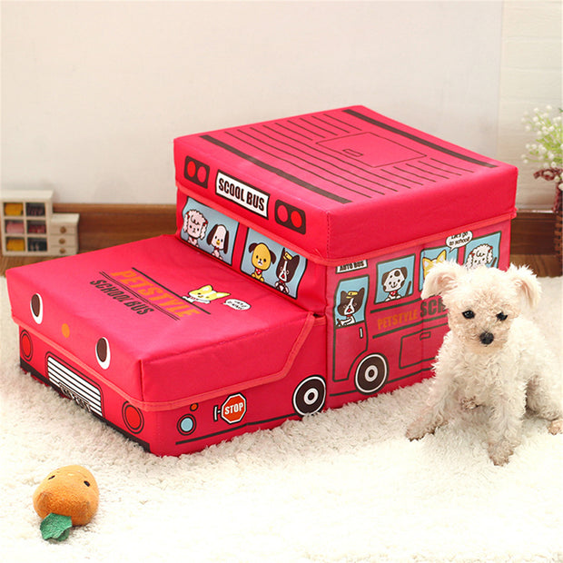 Cartoon 2 Steps Dog Cat Pet Stairs Ramp Ladder Cover Indoor Sofa Bed Portable Box Organizer