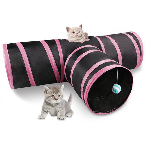 3 Way Collapsible Tunnel with Ringing Ball, Spacious Tube Fun for Cat/Kitten