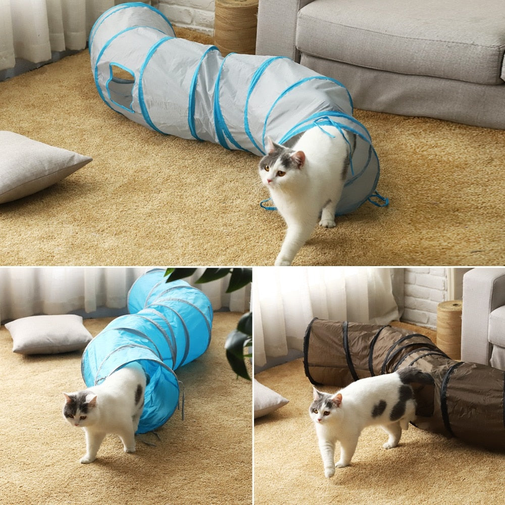 Foldable Cat Tunnel Toys Kitten Tube Collapsible Hideaway for Kittens Rabbits Puppies and Ferrets with 2 Pipe Hole