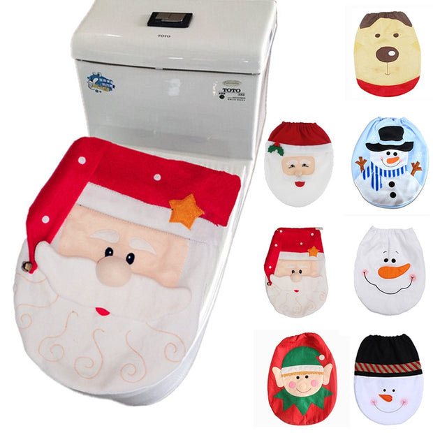 Home Santa Claus Toilet Lid Cover Christmas Decorations