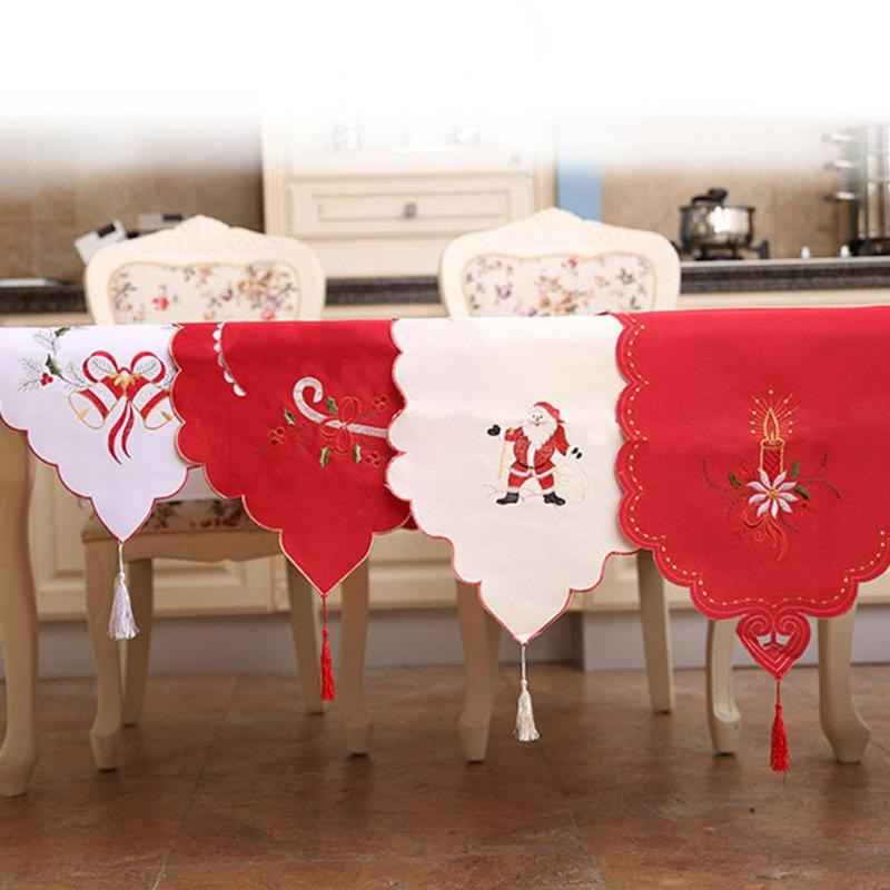 Christmas Table Runner Embroidered Floral Lace Dust Proof Covers