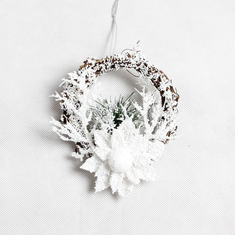 White Flower Grand Christmas Wreath Wooden Christmas Decoration