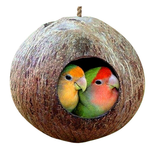 Coconut Shell Bird Nesting Shape Hanging Lanyard For Parakeets Finches Sparrows