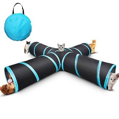 Collapsible Pet Cat Tunnel Interactive Toy 4 WAYS X Shape Crinkle Tubes