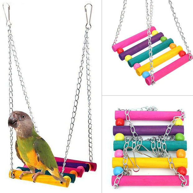 Colorful Bird Toy Parrot Swing Cage Wooden Parrots Swing Toys Hanging Chew Toy