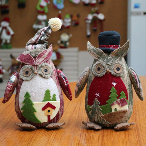 Creative Christmas Plush Owl Dolls Christmas Festival Ornaments