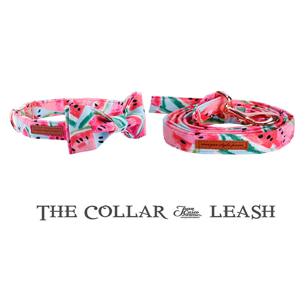 Pink Dog Collar and Leash Set with Bow Tie for Big and Small Dog Cotton Fabric C