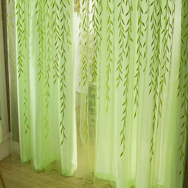 Willow leaf Tulle Curtains Blinds Voile Pastoral Style