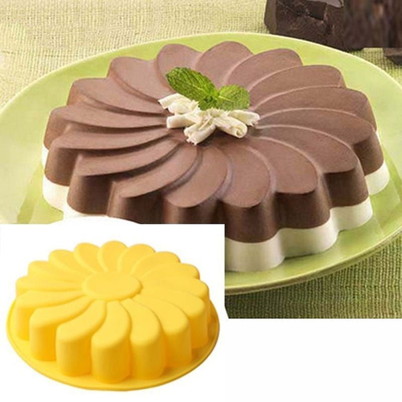 3D Sunflower Form Fondant Cake Silicone Mold Baking Tools