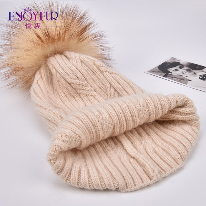 Knitted Cashmere Womens Winter Hat
