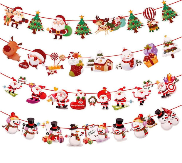 Christmas 2018 Banner Wall Hanging Ornaments Pendant Merry Christmas Decorations