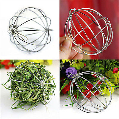 Stainless Steel Round Sphere Feed Dispense Exercise Hanging Hay Ball Guinea Pig Hamster
