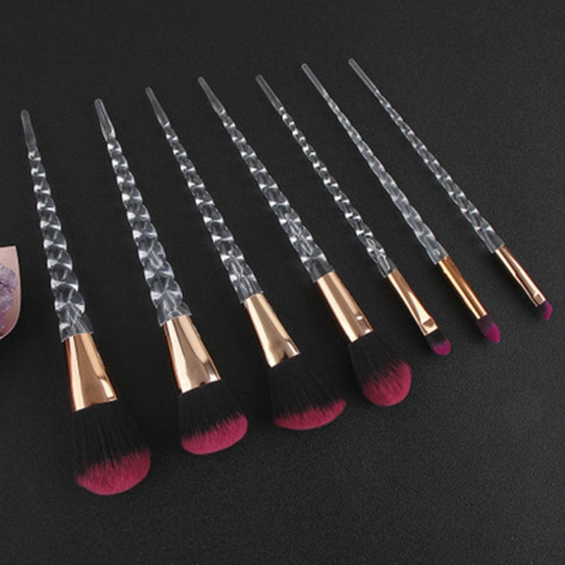 7 Pieces Unicorn Brushes Set Crystal Spiral Handle Foundation Blending Power Makeup Brushes