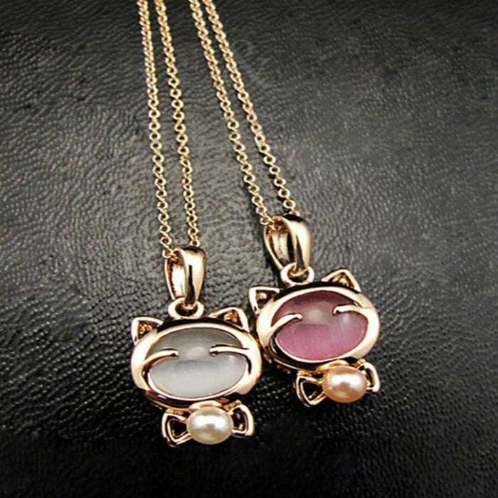 Bohemian  Cat Eye Stone Pendant Necklace - Toyzor.com