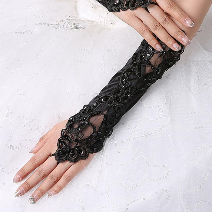 Long Lace Embroidered Gloves