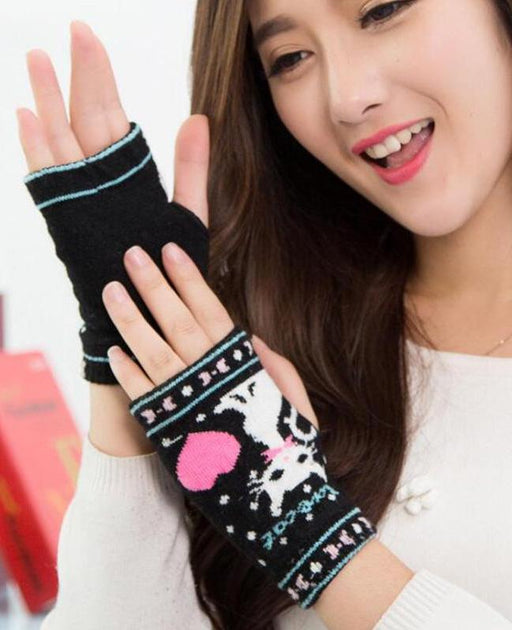 Lovely Knitted Cartoon Cat Gloves