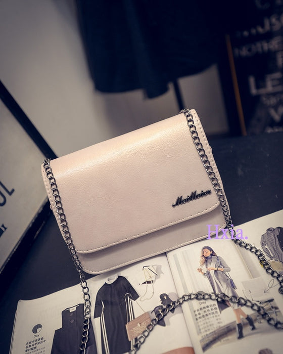 Simple Chain Flap Leather Shoulder Bag