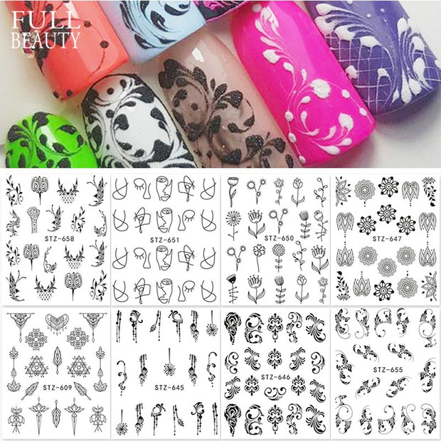 1 PC Fantasy Black Simple Design Nail Art Designs - Toyzor.com