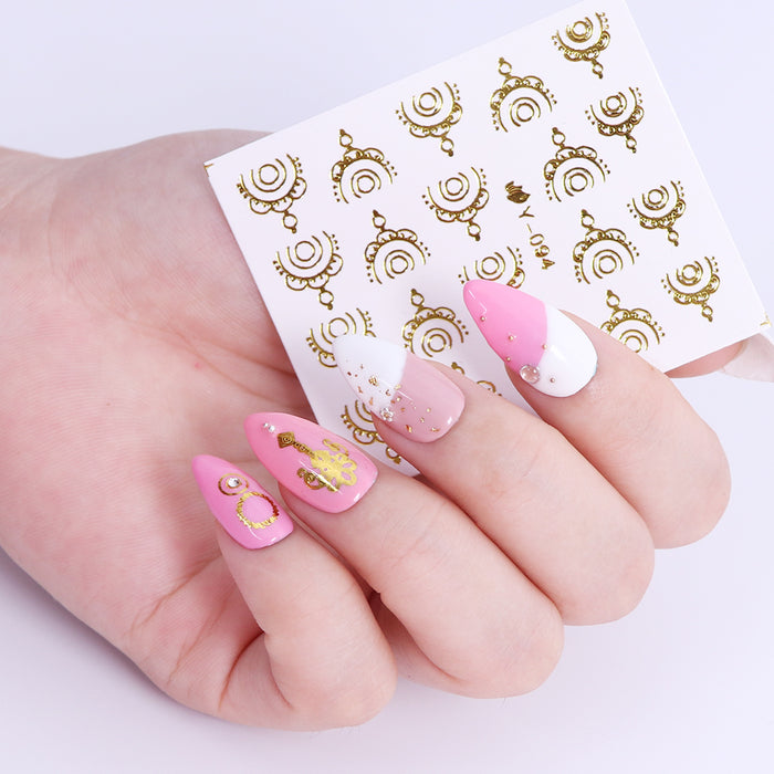 30 PCS Gold Silver Feather Flower Spider Design Decal For Nails - Toyzor.com