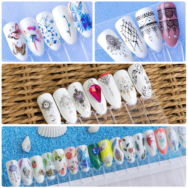 40 PC Mixed Flower Nail Art Designs - Toyzor.com