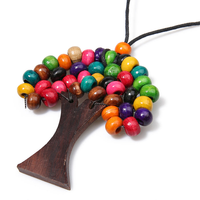 Boho Choker Jewelry Long Tree of Life Women Wooden Beads - Toyzor.com
