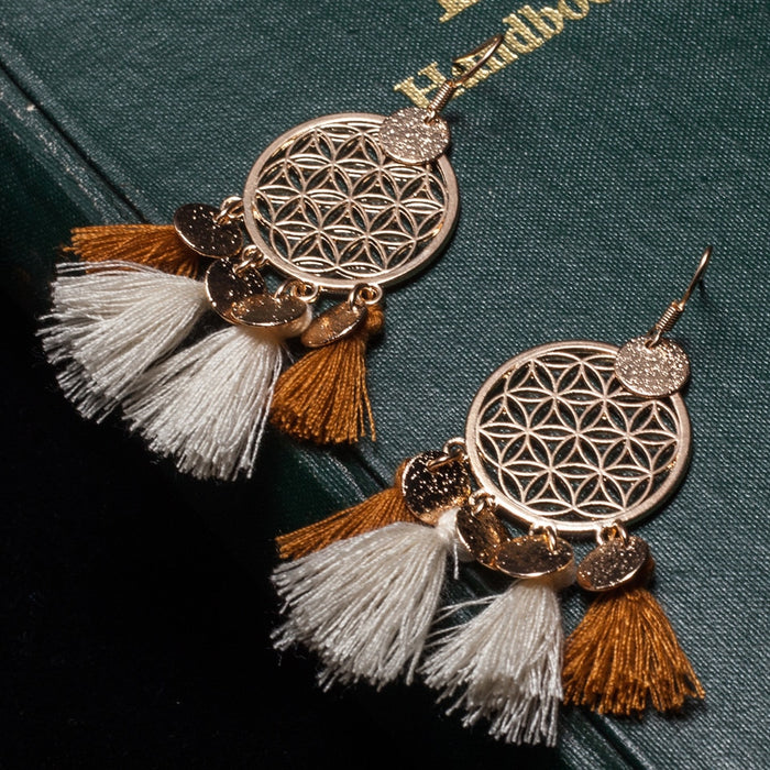 Golden Round Sequins Bohemian Ethnic Drop Earrings