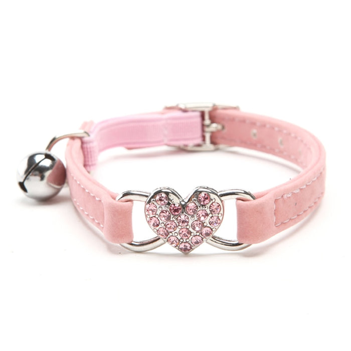 Heart Charm and Bell Cat Collar Safety Elastic Adjustable with Soft Velvet Material