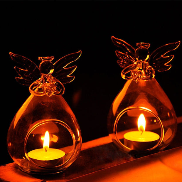 Hot Romantic Angel Crystal Glass Clear Candle Holder Hanging Tea Light Candlestick Burner Vase DIY