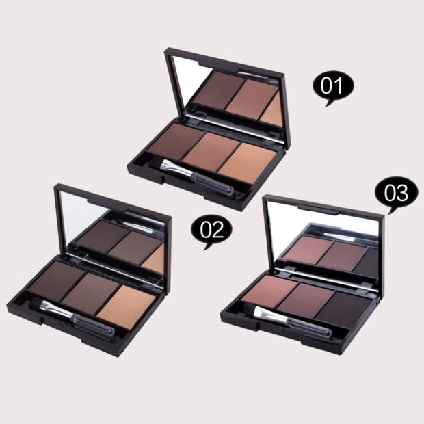 3 Color Eyebrow Powder with Brush And Mirror