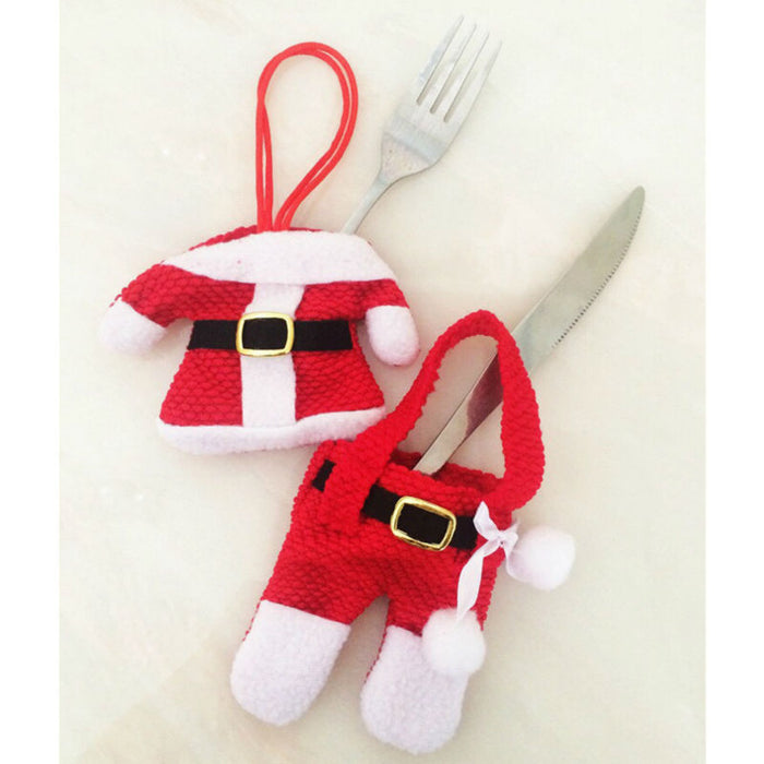 Christmas New Year Santa Silverware Holders  - 6 Pcs - Toyzor.com