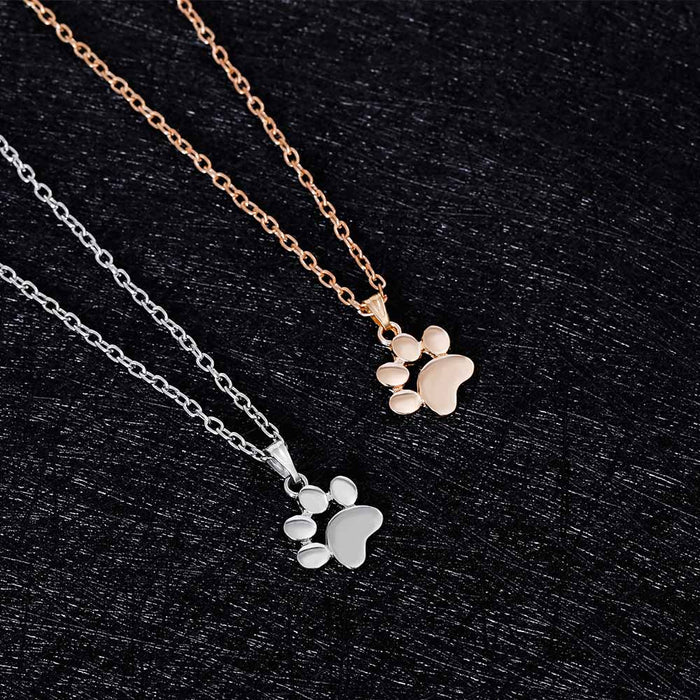\ Fashion Cute Pets Dogs Footprints Paw Chain Pendant Necklace\