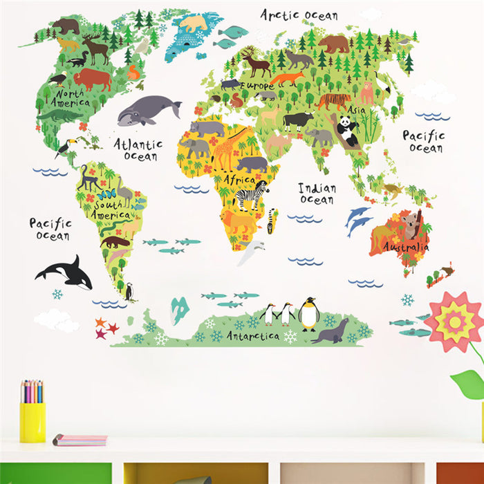 Animal World Map Wall Sticker - Toyzor.com