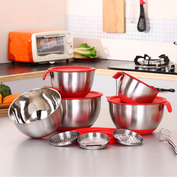 Mixing Bowl Stainless Steel Mixer Kitchen Cooking Tool With a cover with a planer